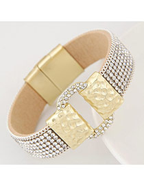 Fashion White Diamond Decorated Buckle Shape Design