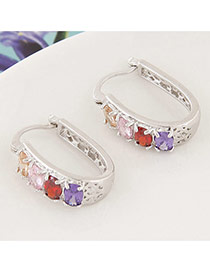 Sweet Multicolor+silver Color Diamond Decorated Hollow Out Design Cuprum Korean Earrings