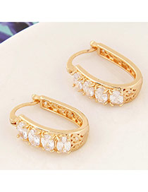 Sweet White+gold Color Diamond Decorated Hollow Out Design Cuprum Korean Earrings