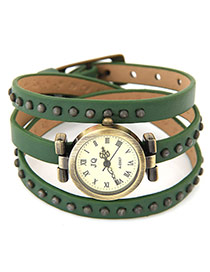 Fashion Green Round Shape Dial Plate Decoratde Multilayer Design Leather Ladies Watches