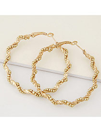 Fashion Gold Color Beads Decorated Twine Design Alloy Korean Earrings