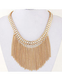 Exaggerate Gold Color Diamond Tassels Decorated Simple Design