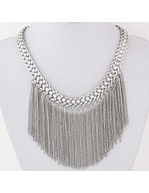 Exaggerate Silver Color Diamond Tassels Decorated Simple Design Alloy Bib Necklaces