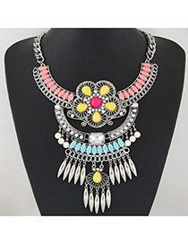 Exaggerate Pink Hollow Out Flower&tassel Pendant Decorated Short Chain Design