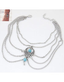 Vintage Light Blue Beads Decorated Multilayer Design