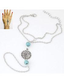 Vintage Light Blue Sunflower&beads Decorated Doule Layer Design