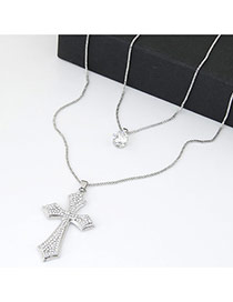 Sweet Silver Color Cross&diamond Decorated Double Layer Design