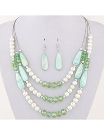 Fashion Green Water Drop Shape Beads Decorated Multilayer Design Alloy Jewelry Sets