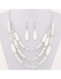 Fashion White Water Drop Shape Beads Decorated Multilayer Design Alloy Jewelry Sets