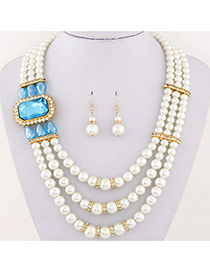 Fashion Blue Square Diamond&pearl Decorated Multilayer Design Alloy Jewelry Sets