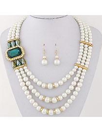 Fashion Green Square Diamond&pearl Decorated Multilayer Design Alloy Jewelry Sets