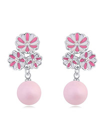 Luxurious Pink+plum Red Ball Decorated Flower Design Alloy Crystal Earrings