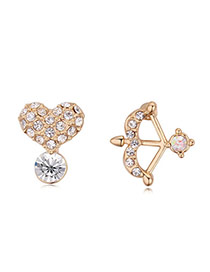Luxurious Champagne Gold+white Heart&arrow Shape Decorated Asymmetric Design Alloy Crystal Earrings