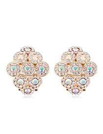 Luxurious Champagne Gold+white Diamond Decorated Rhombus Shape Design Alloy Crystal Earrings