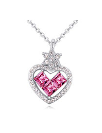 Luxurious Plum Red Diamond Decorated Heart Pendant Design Alloy Crystal Necklaces