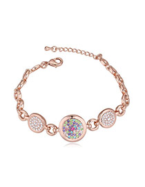 Luxurious Rose Gold+multicolor Diamond Decorated Round Shape Design Alloy Crystal Bracelets