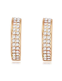 Luxurious Champagne Gold+white Double Layer Diamond Decorated Simple Design Alloy Crystal Earrings