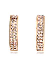 Luxurious Champagne Gold+light Pink Double Layer Diamond Decorated Simple Design Alloy Crystal Earrings