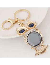 Fashion Gray Diamond Decorated Owl Shape Design Alloy Fashion Keychain
