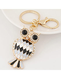Fashion Black+white Diamond Decorated Owl Shape Design