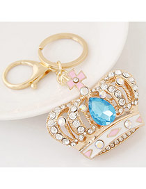 Fashion Blue Diamond Decorated Crown Shape Design Alloy Fashion Keychain