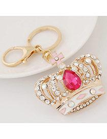 Fashion Red Diamond Decorated Crown Shape Design Alloy Fashion Keychain