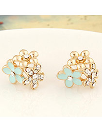 Fashion Gold Colour Three Flowers Decorated Simple Design Alloy Stud Earrings
