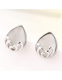 Sweet Light Gray Waterdrop Shape Decorated Simple Design Zircon Stud Earrings