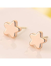 Sweet Rose Gold Star Shape Decorated Simple Design Cuprum Stud Earrings