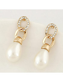 Sweet Gold Color Pearl Pendant Decorated Simple Design Alloy Stud Earrings