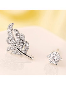 Sweet Silver Color Leaf Shape Decorated Dissymmetry Design Zircon Stud Earrings