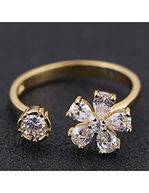 Sweet Gold Color Flower Shape Decorated Opening Design Zircon Korean Rings