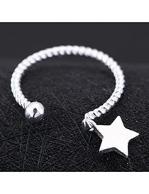 Sweet Silver Color Star Shape Decorated Opening Design Cuprum Korean Rings