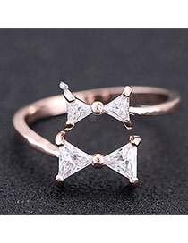 Sweet Rose Gold Double Bowknot Decorated Opening Design Zircon Korean Rings