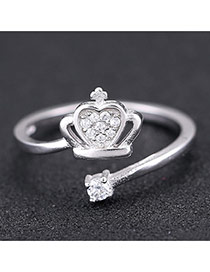 Sweet Silver Color Crown Shape Decorated Opening Design Zircon Korean Rings