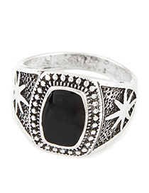 Fashion Black Geometric Shape Decorated Simple Design Alloy Korean Rings