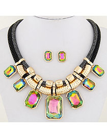 Fashion Multi-color Square Shape Decorated Double Layer Design