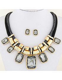 Fashion Gray Square Shape Decorated Double Layer Design