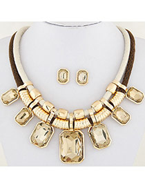 Fashion Yellow Square Shape Decorated Double Layer Design