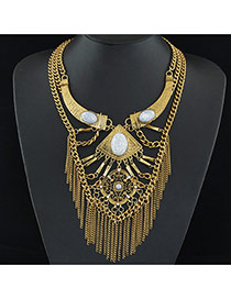 Fashion Gold Color Metal Chain Tassel Decorated Short Multilayer Design