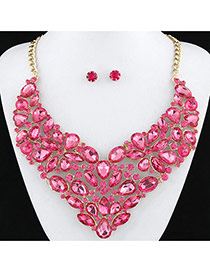 Exaggerated Pink Full Diamond Decorated Flower Shape Design