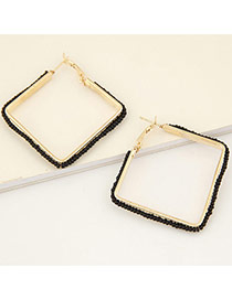 Fashion Black Measle Weaving Decorated Square Design Alloy Korean Earrings