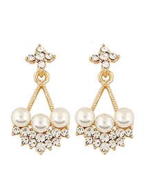 Sweet Glod Color Pearl&diamond Decorated Triangle Shape Design