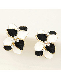 Sweet White&black Diamond Decorated Clover Shape Design Alloy Stud Earrings