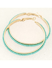 Fashion Sky Blue Beads Decorated Round Shape Design Alloy Korean Earrings