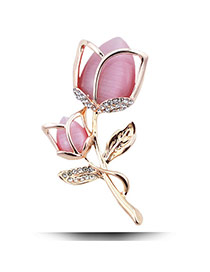 Fashion Pink Diamond Decorated Tulip Shape Design Alloy Korean Brooches
