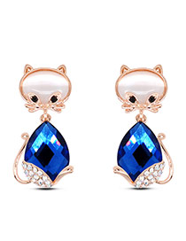 Cute Blue Diamond Decorated Cat Shape Design Alloy Stud Earrings