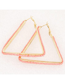 Fashion Pink Beads Weaving Decorated Triangle Shape Design Alloy Korean Earrings