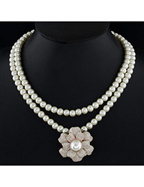Fashion Beige Flower Pendant Decorated Double Layer Design Alloy Bib Necklaces