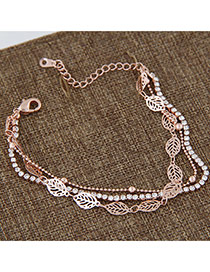 Sweet Rose Gold Hollow Out Leaf Decorated Multilayer Design Alloy Korean Fashion Bracelet